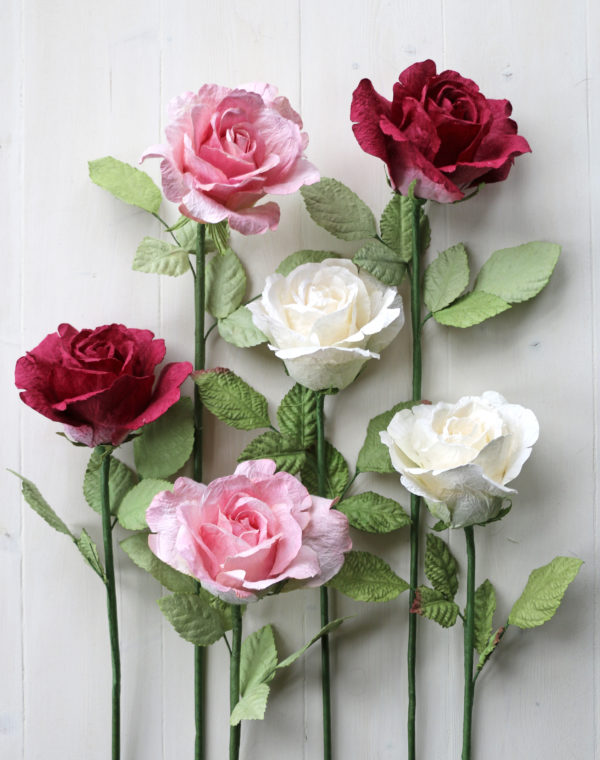 Large Paper Roses Pink & White