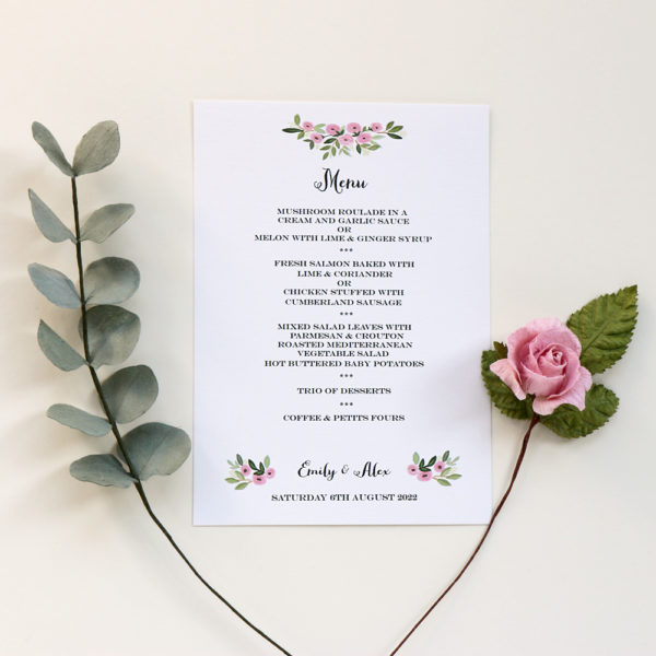 Wedding Menu with Paper Flowers