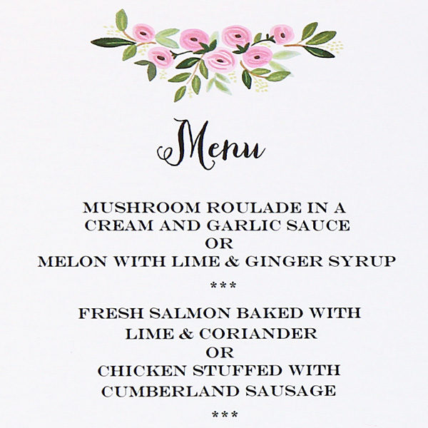 Wedding Menu Botanical Rose