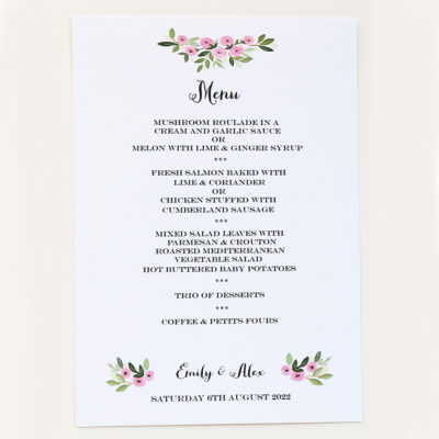 Wedding Menu Rose Design