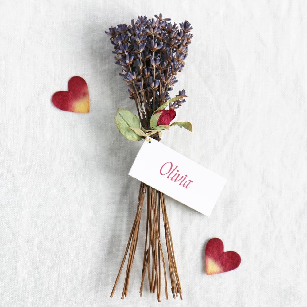 Lavender Table Decoration Amp Paper Rosebud Favour Name Place
