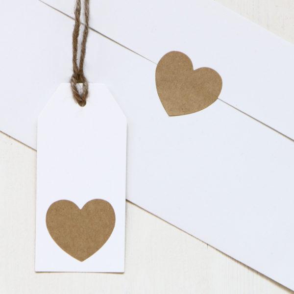 Kraft Heart Stickers