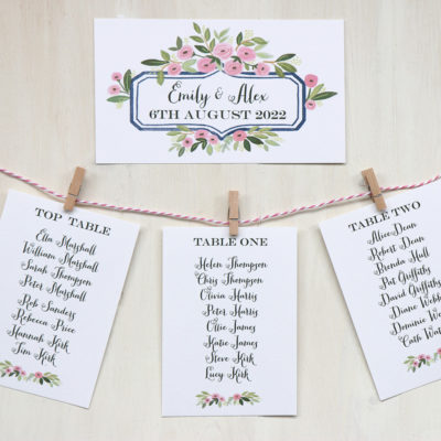 Table Plan Card Pegs