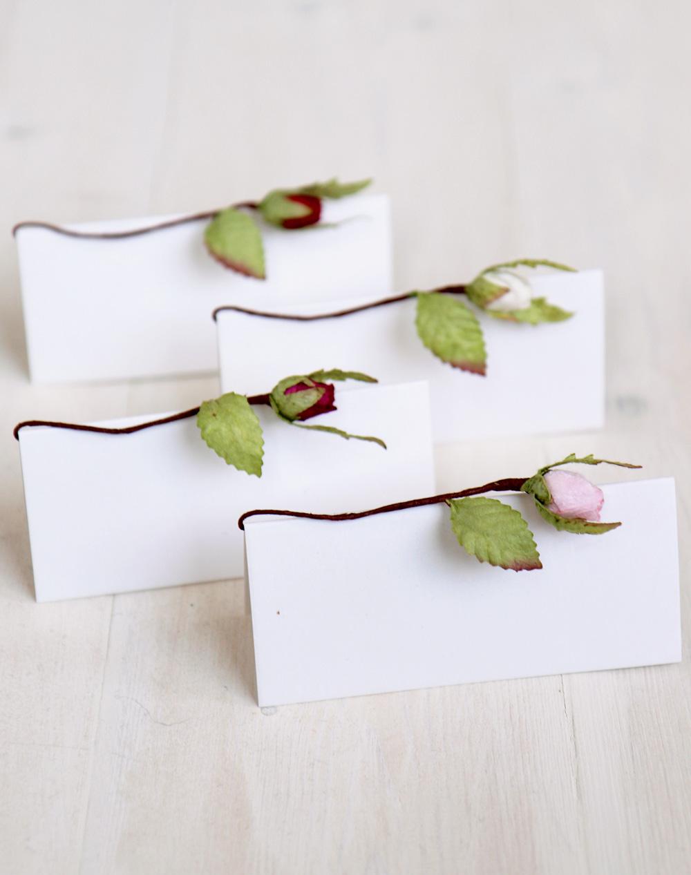 Wedding Name Cards.Wedding Place Cards Paper Rosebud Blank Name Card