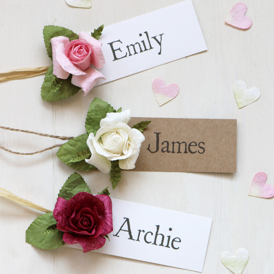 Paper Rose Wedding Name Tag | Name Place & Favour