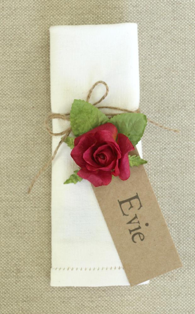paper rose tag