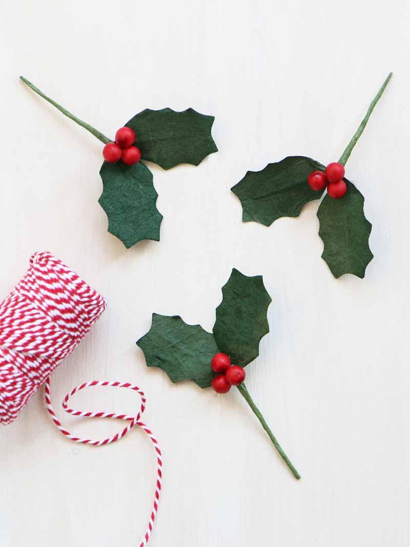 Paper Holly Sprig Christmas