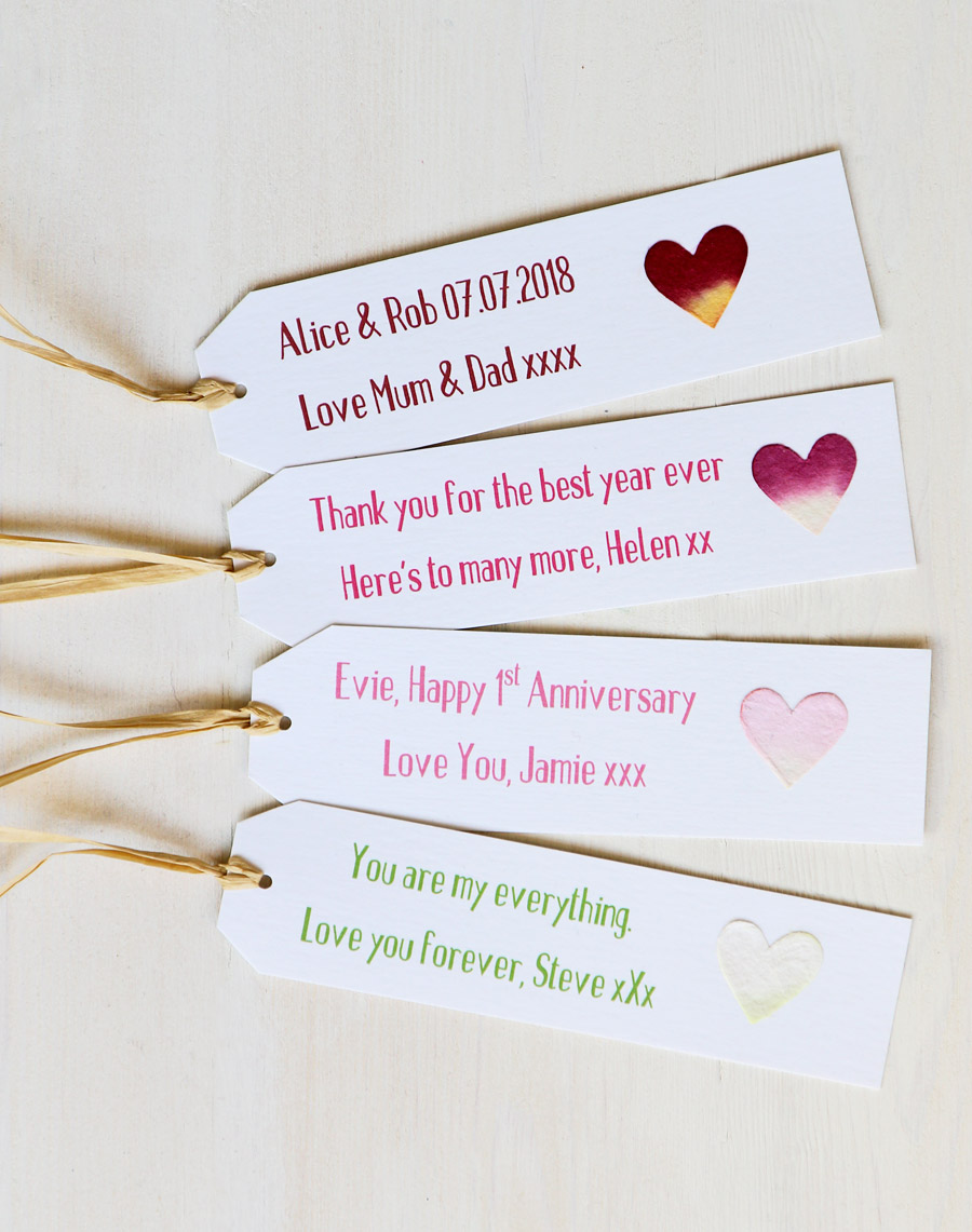 Wedding Personalised Gift Tag for Birthday Heart Congratulations Anniversary
