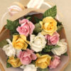 Paper rose bouquet with personalised gift tag