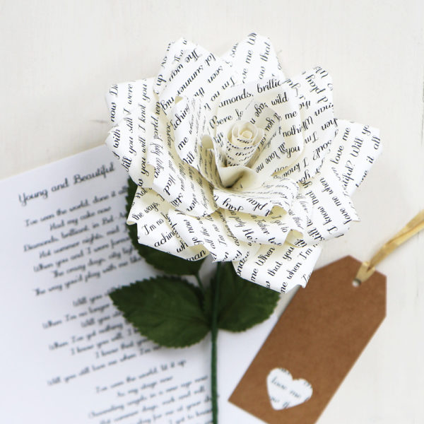 Personalised Literary Paper Rose
