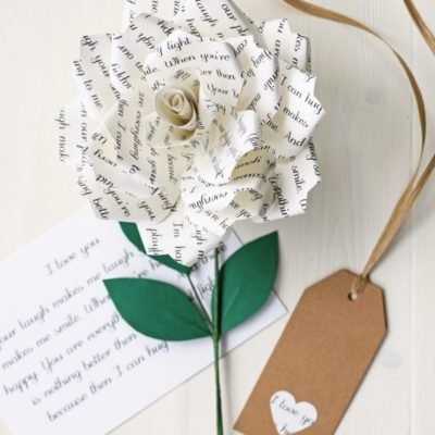 Personalised Literary Paper Rose