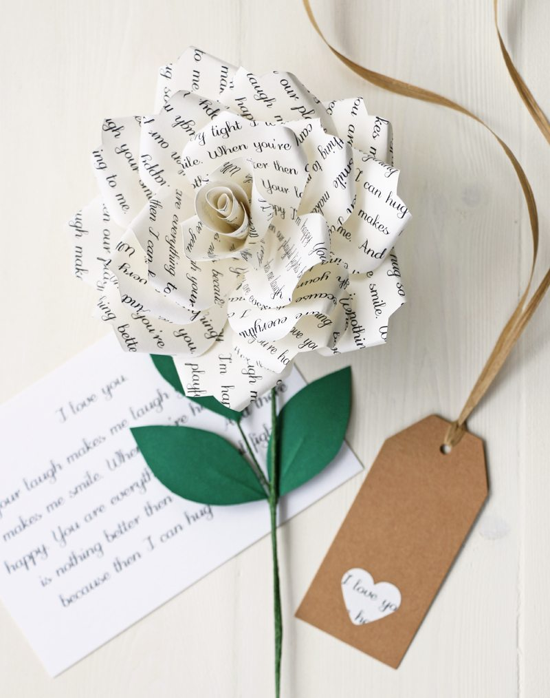 Personalised Literary Paper Rose | Gift from Paper Tree