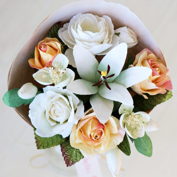 Paper Flowers Bouquet White Yellow