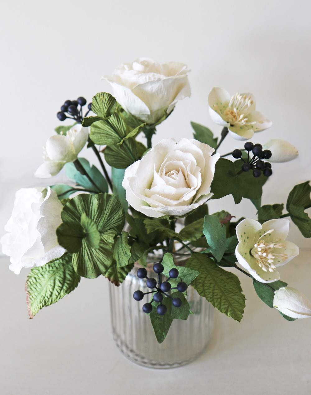 Paper Flower Bouquet | Ivory White Paper Flowers & Foliage