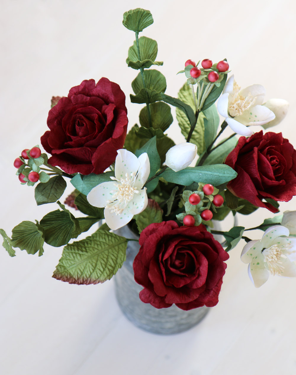Paper flowers winter paper bouquet of roses berries foliage paper roses flowers mightylinksfo