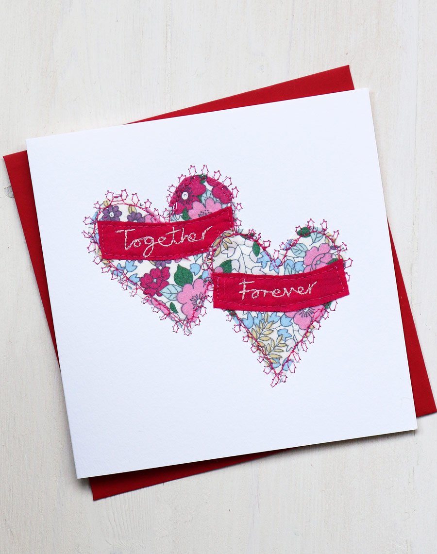 Handmade Valentines Card With Embroidered Hearts Unique Design