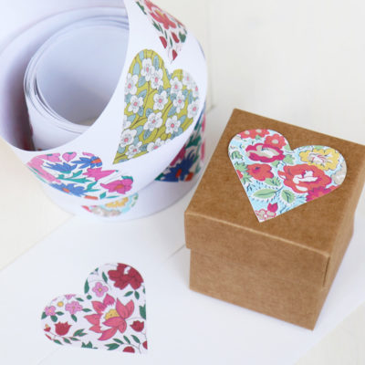 Liberty Print Heart Stickers