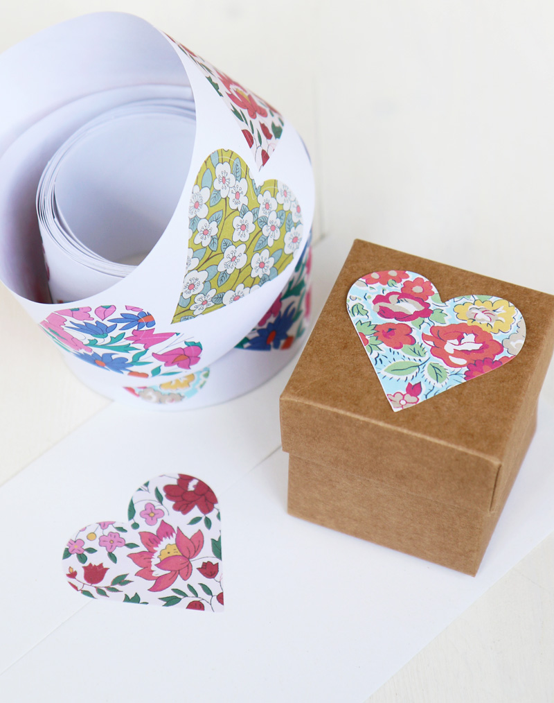 Liberty Print Heart Stickers Craft Scrapbooking Cards Decoration