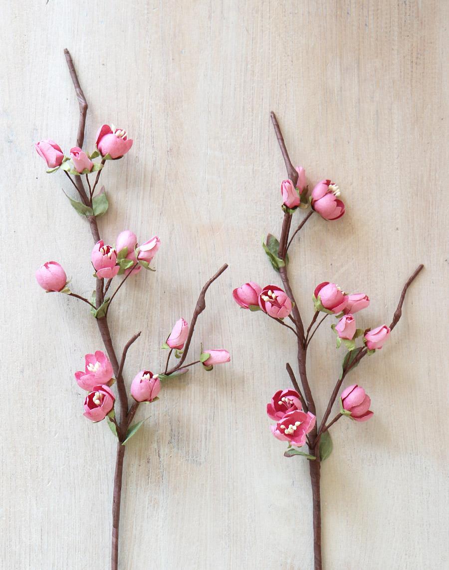 Pink paper cherry blossom stem handmade paper flower mightylinksfo