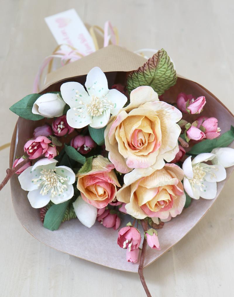 Pink Paper Cherry Blossom Stem Handmade Paper Flower