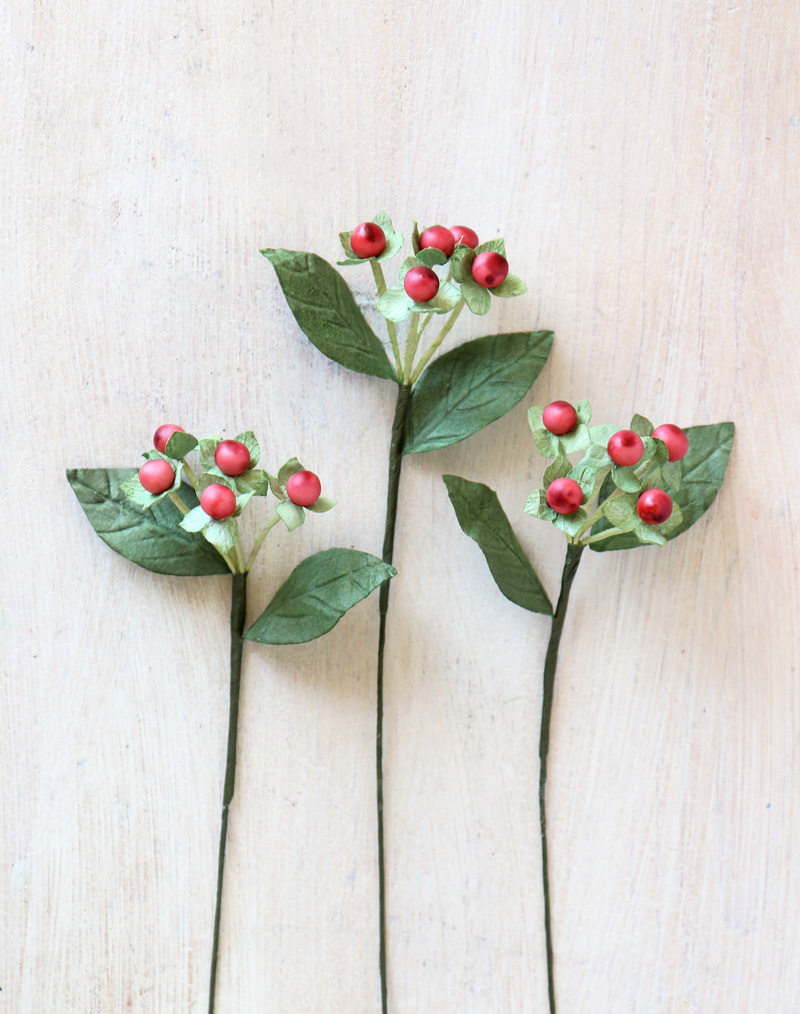 Paper Hypericum Berries   Paper Foliage Red Berry Stem