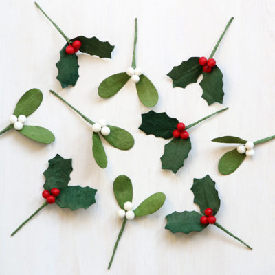 Paper Holly Mistletoe Decorations
