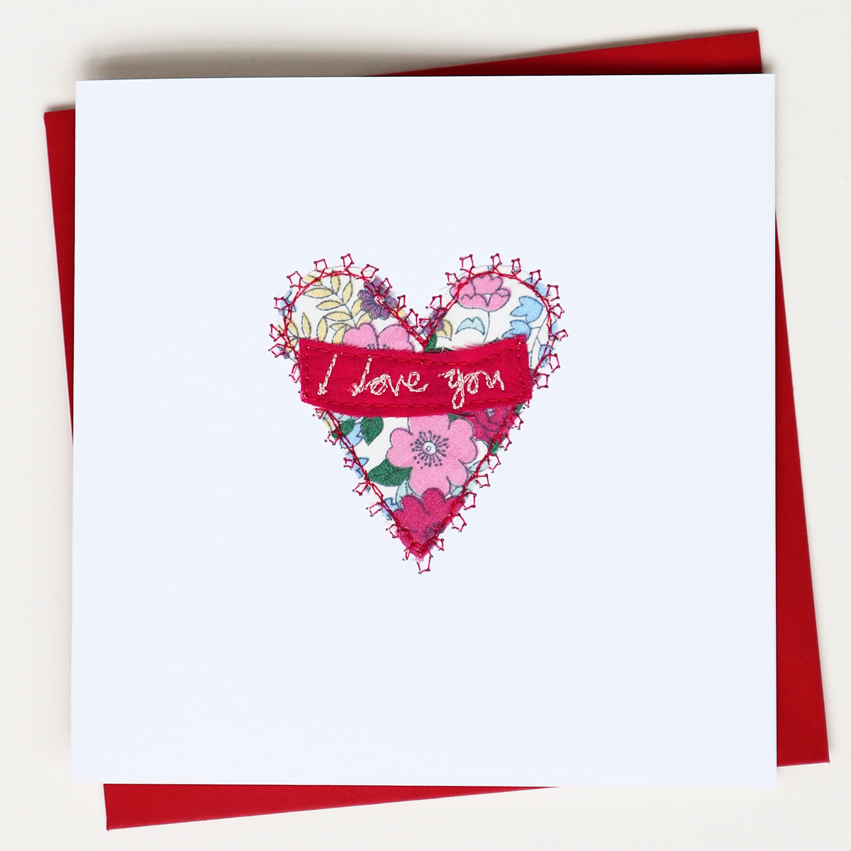 I Love You Card Hand Embroidered Design
