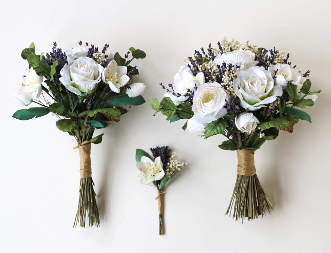 Paper Bouquets & Buttonhole