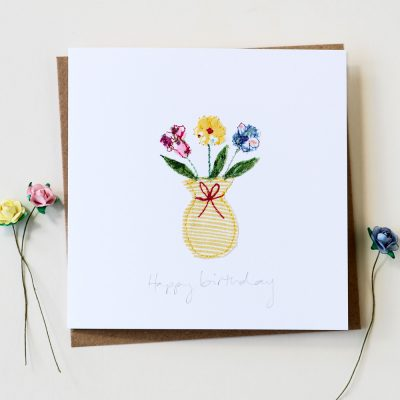 Handmade Birthday Flowers Card