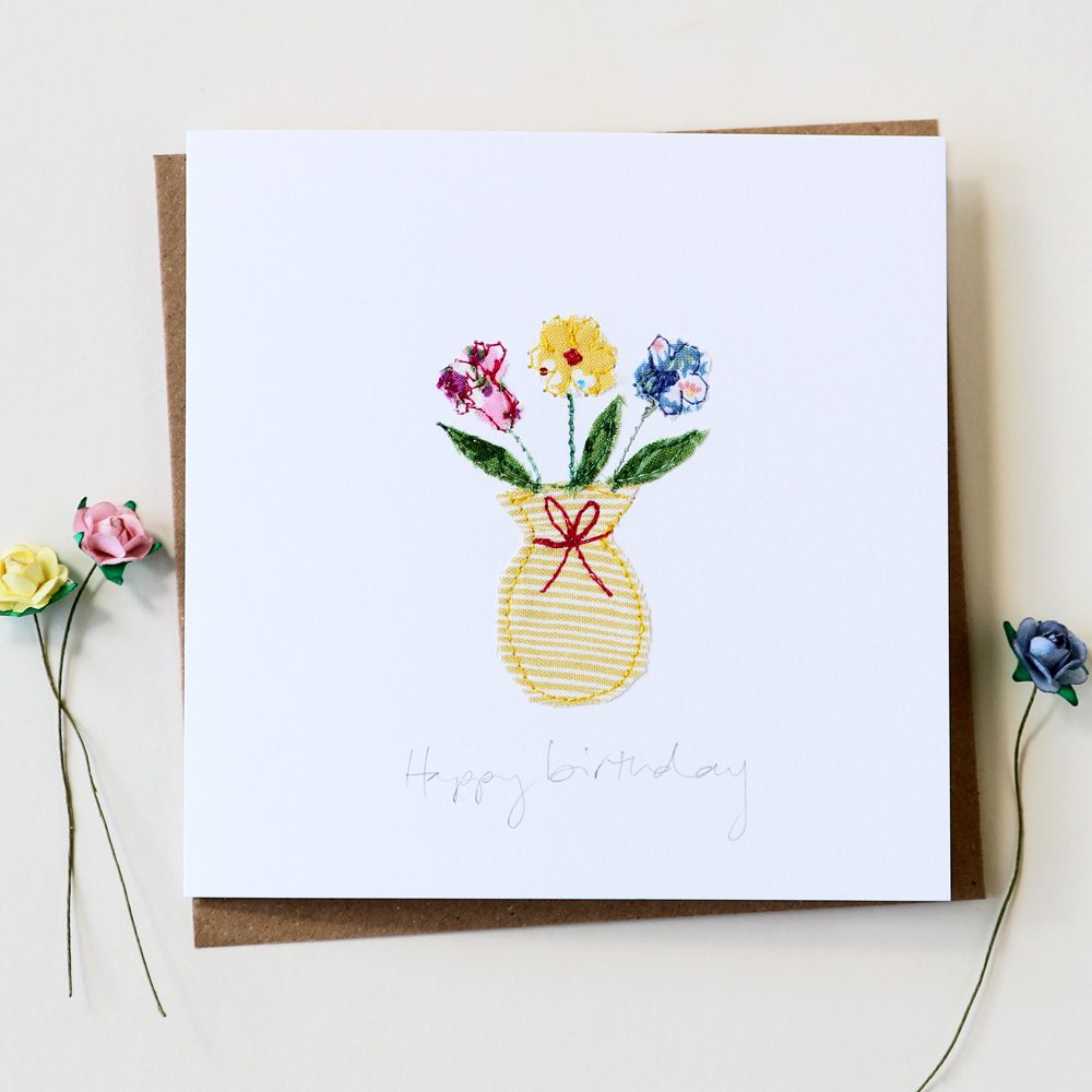 birthday flowers card  handmade embroidered floral design