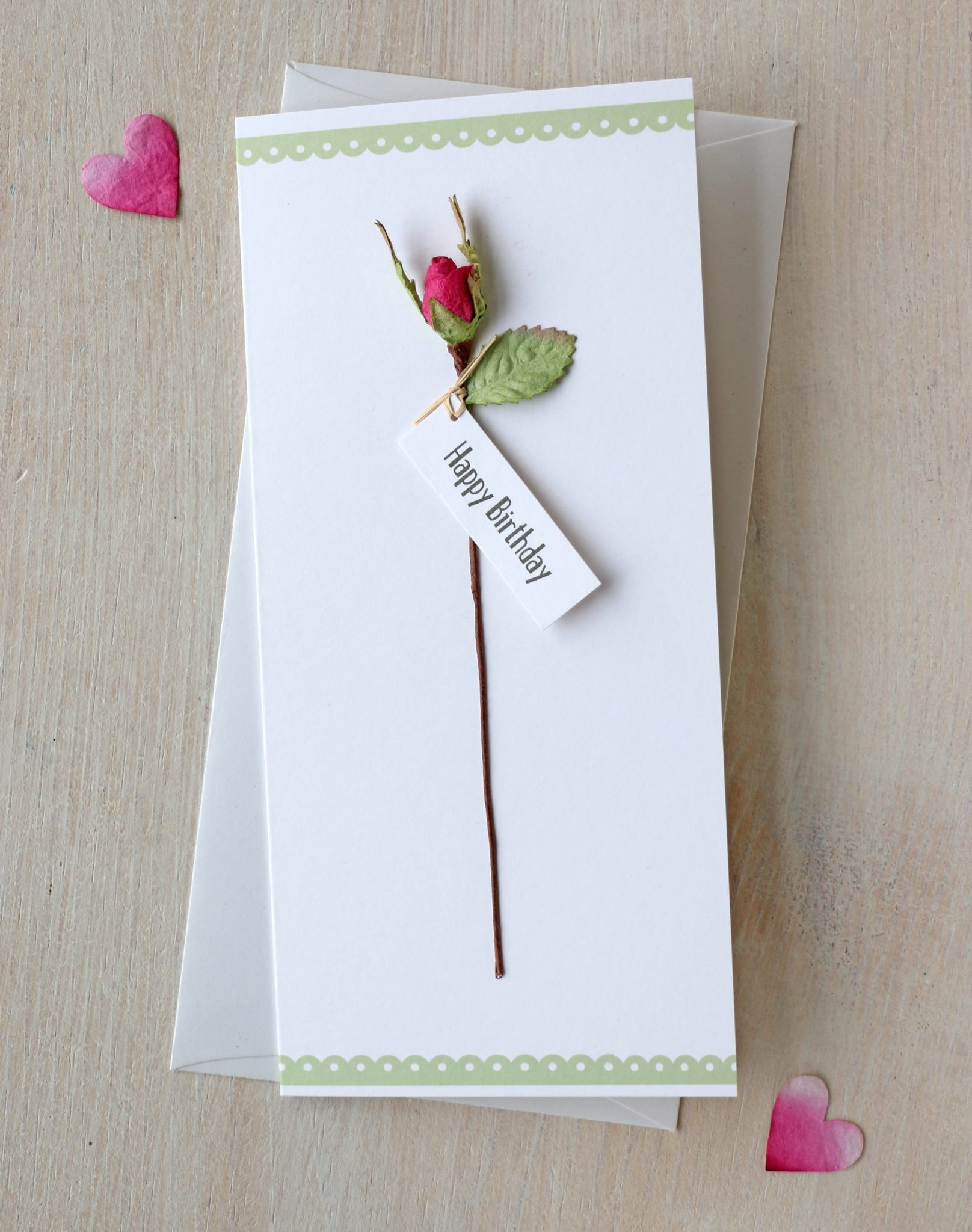 rose birthday card  unique handmade happy birthday card