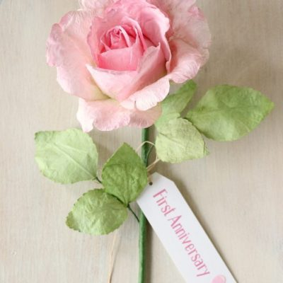 Paper Rose with Gift Tag