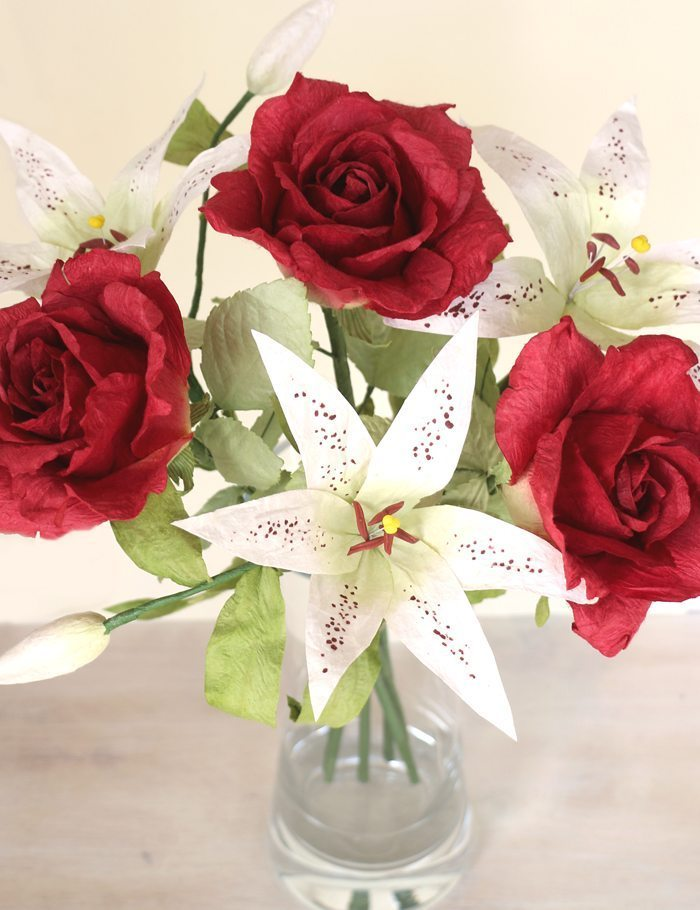 Paper Anniversary Gift | Paper Flower Bouquet of Roses & Lilies