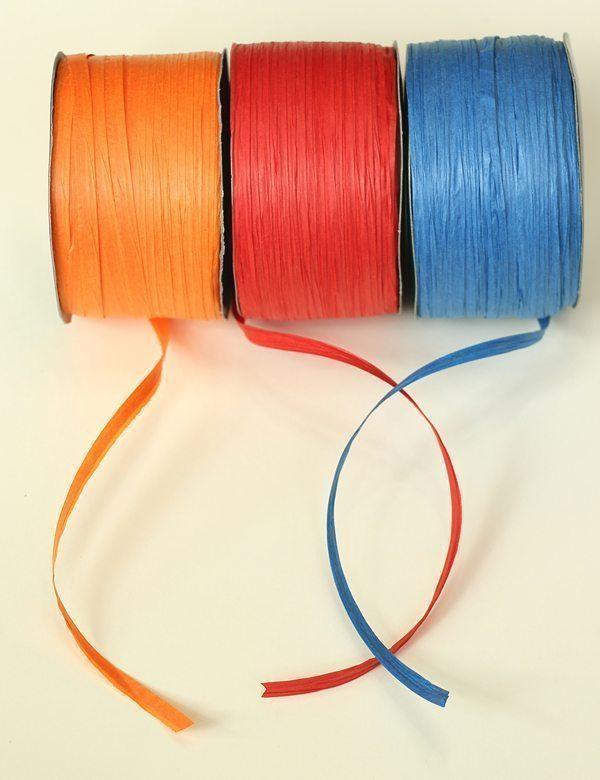 Orange Red Blue Paper Raffia Ribbon