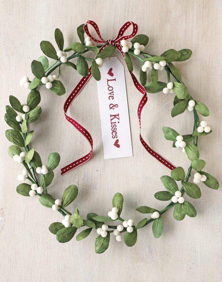 Paper Mistletoe Wreath Handmade Christmas Decoration