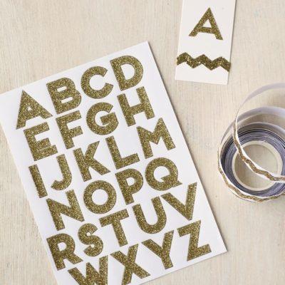 Alphabet Gold Glitter Stickers