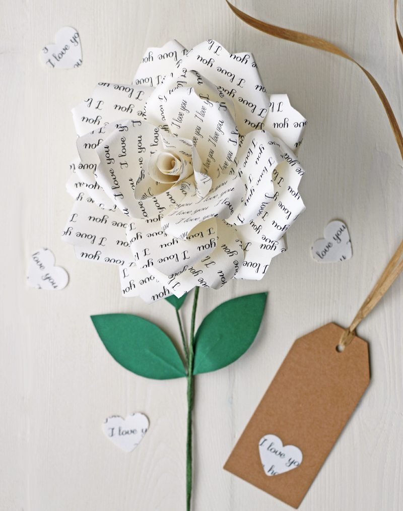I Love You Paper Rose